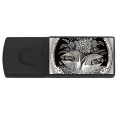 Swans Floral Pattern Vintage Usb Flash Drive Rectangular (4 Gb) by Nexatart
