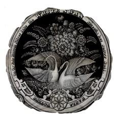 Swans Floral Pattern Vintage Large 18  Premium Flano Round Cushions by Nexatart