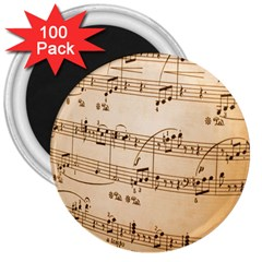 Music Notes Background 3  Magnets (100 Pack)