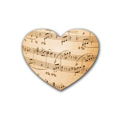 Music Notes Background Rubber Coaster (heart)  by Nexatart