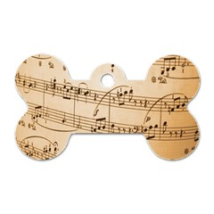 Music Notes Background Dog Tag Bone (two Sides) by Nexatart