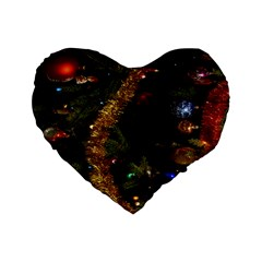Night Xmas Decorations Lights  Standard 16  Premium Flano Heart Shape Cushions by Nexatart