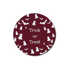 Halloween Free Card Trick Or Treat Rubber Round Coaster (4 Pack)  by Nexatart