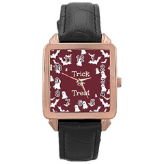 Halloween Free Card Trick Or Treat Rose Gold Leather Watch  by Nexatart