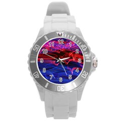 Lights Abstract Curves Long Exposure Round Plastic Sport Watch (l) by Nexatart