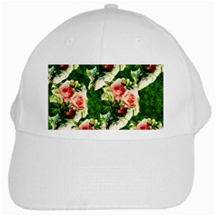 Floral Collage White Cap