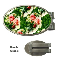 Floral Collage Money Clips (oval)  by Nexatart