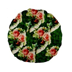 Floral Collage Standard 15  Premium Flano Round Cushions by Nexatart
