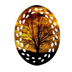 Moon Tree Kahl Silhouette Oval Filigree Ornament (two Sides)