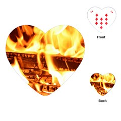 Fire Flame Wood Fire Brand Playing Cards (heart)  by Nexatart