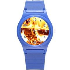 Fire Flame Wood Fire Brand Round Plastic Sport Watch (s) by Nexatart