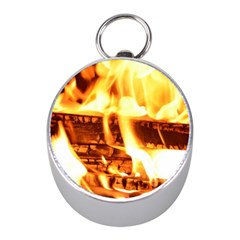 Fire Flame Wood Fire Brand Mini Silver Compasses