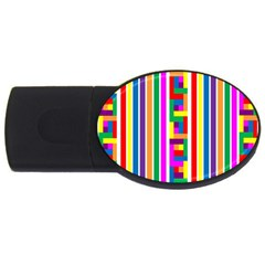 Rainbow Geometric Design Spectrum USB Flash Drive Oval (2 GB) by Nexatart
