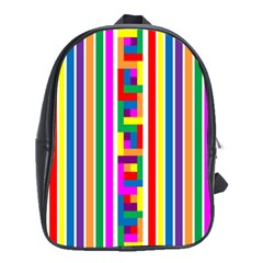 Rainbow Geometric Design Spectrum School Bags (xl)