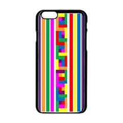Rainbow Geometric Design Spectrum Apple Iphone 6/6s Black Enamel Case