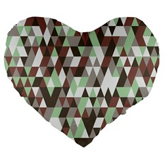 Pattern Triangles Random Seamless Large 19  Premium Flano Heart Shape Cushions by Nexatart