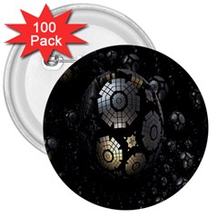 Fractal Sphere Steel 3d Structures 3  Buttons (100 Pack)  by Nexatart