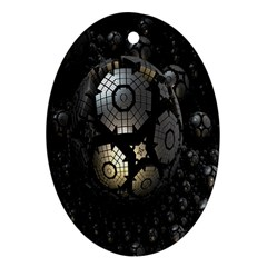 Fractal Sphere Steel 3d Structures Oval Ornament (two Sides)