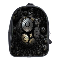 Fractal Sphere Steel 3d Structures School Bags(large)  by Nexatart