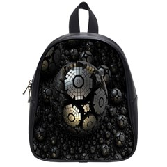 Fractal Sphere Steel 3d Structures School Bags (small)  by Nexatart
