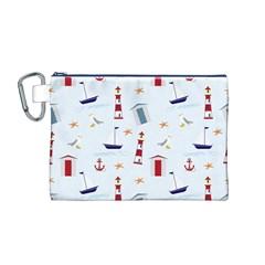 Seaside Beach Summer Wallpaper Canvas Cosmetic Bag (M) by Nexatart