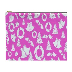 Pink Christmas Background Cosmetic Bag (XL)