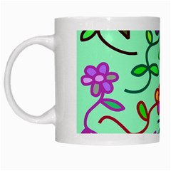 Flowers Floral Doodle Plants White Mugs by Nexatart