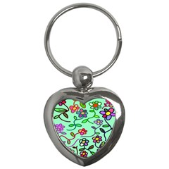 Flowers Floral Doodle Plants Key Chains (heart)  by Nexatart