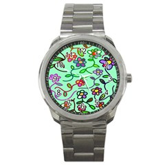Flowers Floral Doodle Plants Sport Metal Watch