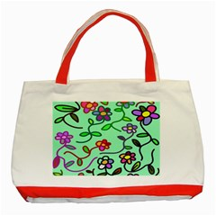 Flowers Floral Doodle Plants Classic Tote Bag (Red) by Nexatart