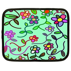 Flowers Floral Doodle Plants Netbook Case (large) by Nexatart