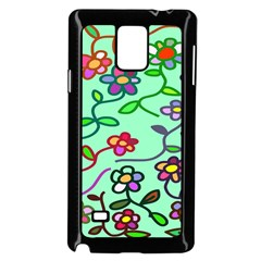 Flowers Floral Doodle Plants Samsung Galaxy Note 4 Case (Black)