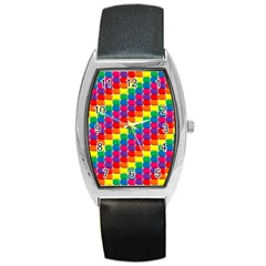 Rainbow 3d Cubes Red Orange Barrel Style Metal Watch by Nexatart