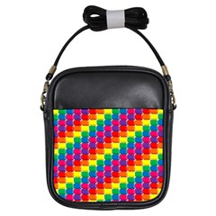 Rainbow 3d Cubes Red Orange Girls Sling Bags