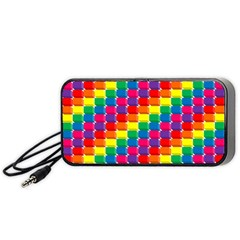 Rainbow 3d Cubes Red Orange Portable Speaker (black)