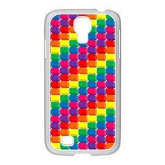 Rainbow 3d Cubes Red Orange Samsung Galaxy S4 I9500/ I9505 Case (white) by Nexatart