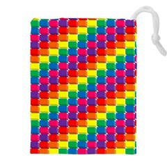 Rainbow 3d Cubes Red Orange Drawstring Pouches (xxl)