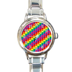 Rainbow 3d Cubes Red Orange Round Italian Charm Watch