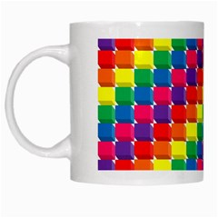 Rainbow 3d Cubes Red Orange White Mugs by Nexatart