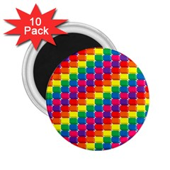Rainbow 3d Cubes Red Orange 2 25  Magnets (10 Pack)  by Nexatart