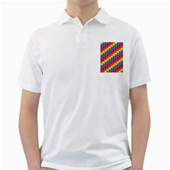 Rainbow 3d Cubes Red Orange Golf Shirts by Nexatart