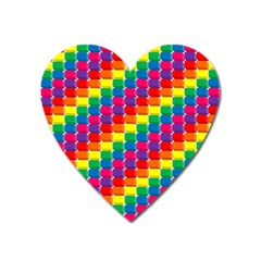 Rainbow 3d Cubes Red Orange Heart Magnet