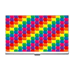 Rainbow 3d Cubes Red Orange Business Card Holders by Nexatart