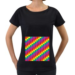 Rainbow 3d Cubes Red Orange Women s Loose-Fit T-Shirt (Black) by Nexatart