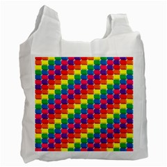 Rainbow 3d Cubes Red Orange Recycle Bag (one Side) by Nexatart