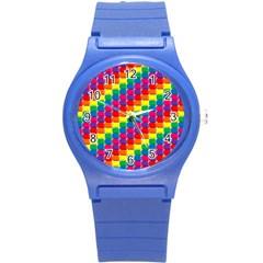 Rainbow 3d Cubes Red Orange Round Plastic Sport Watch (s)