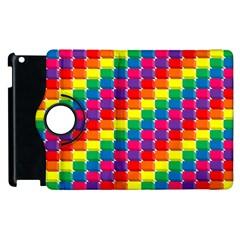 Rainbow 3d Cubes Red Orange Apple Ipad 3/4 Flip 360 Case