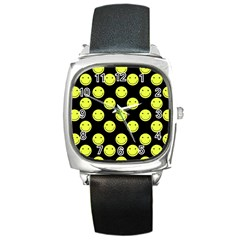 Happy Face Pattern Square Metal Watch