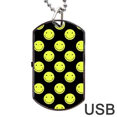 Happy Face Pattern Dog Tag Usb Flash (two Sides)