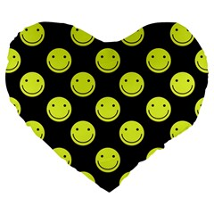 Happy Face Pattern Large 19  Premium Heart Shape Cushions by Nexatart